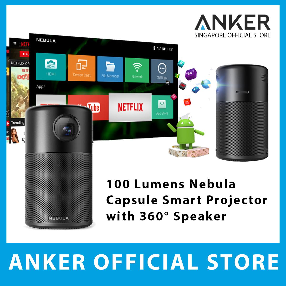 Best Offer Anker 100 Lumens Nebula Capsule Portable Smart Projector With 360° Speaker