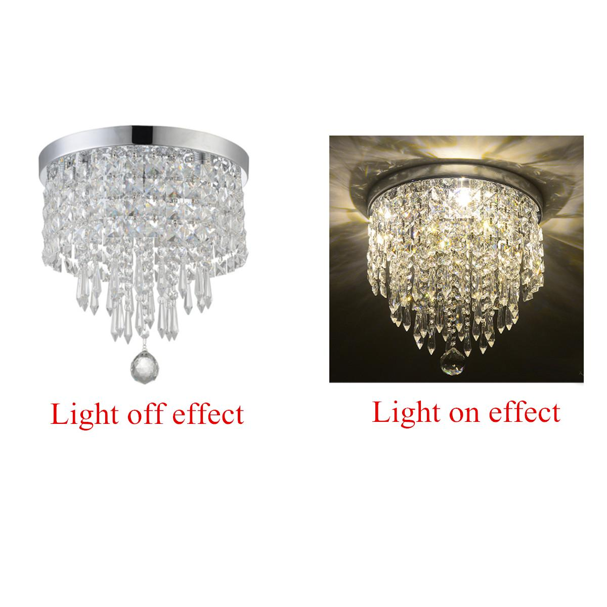 Elegant Chandelier Crystal Lamp Light Ceiling Flush Mount Fixture Home Decor - intl#White Light