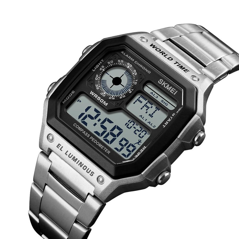 SKMEI Kompas Countdown Digital Sports Watches Mens Watches Mewah Pedometer Kalori Waterproof Pria Wrist Watch Jam