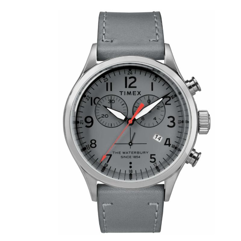 cb7021e21 Timex Men's Waterbury Traditional Chronograph 42mm Leather Strap Watch  TW2R70700