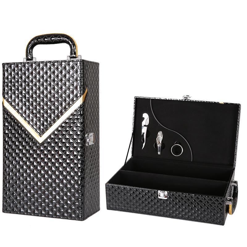 Black pair of leather box wine box, red wine box