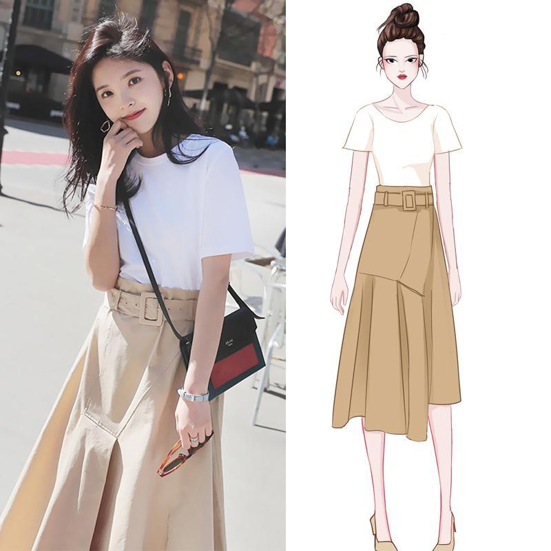 Lengan pendek gaun wanita musim panas model baru Gaya Korea set dua potong Highwaist model setengah