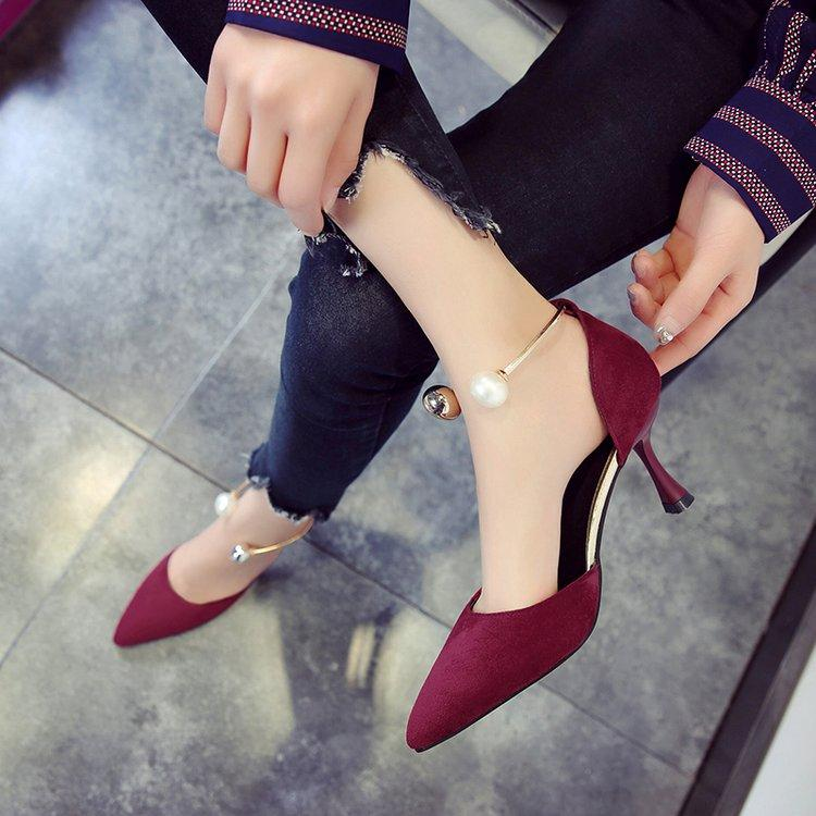 79975f29b11 women Autumn 2018 New Style Pointed Shallow Mouth Thin Heeled High Heel  Shoes Closed-toe