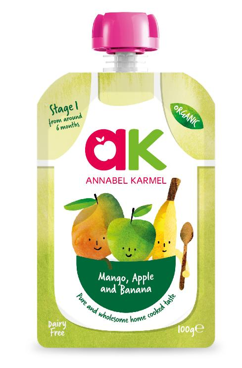 [bundle Deal] Annabel Karmel Stage 1 Organic Apple, Banana & Mango (6 Packs) By Posh Baby Shop.