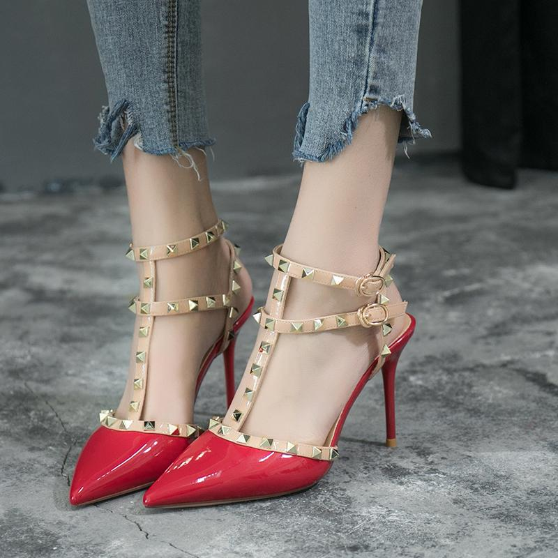 S*xy Riveted Summer Pointy Toe Sandals Stiletto Heels Deal
