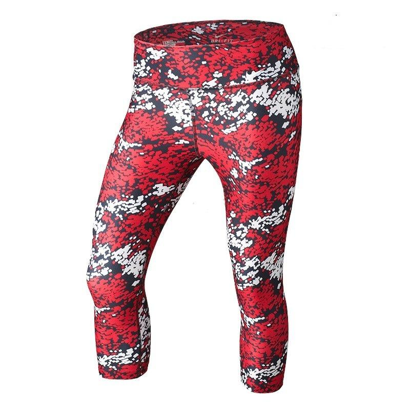 c255940a NIKE WOMEN'S LEGEND TIGHT FIT PRINTED CAPRIS- Red