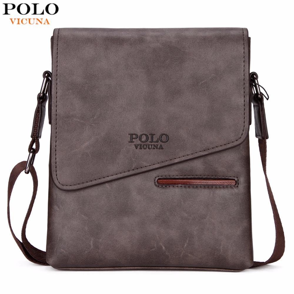 1b4e593a1e6  HOT SALE  VICUNA POLO Vintage Frosted Leather Messenger Bag For Man  Business Bag Front