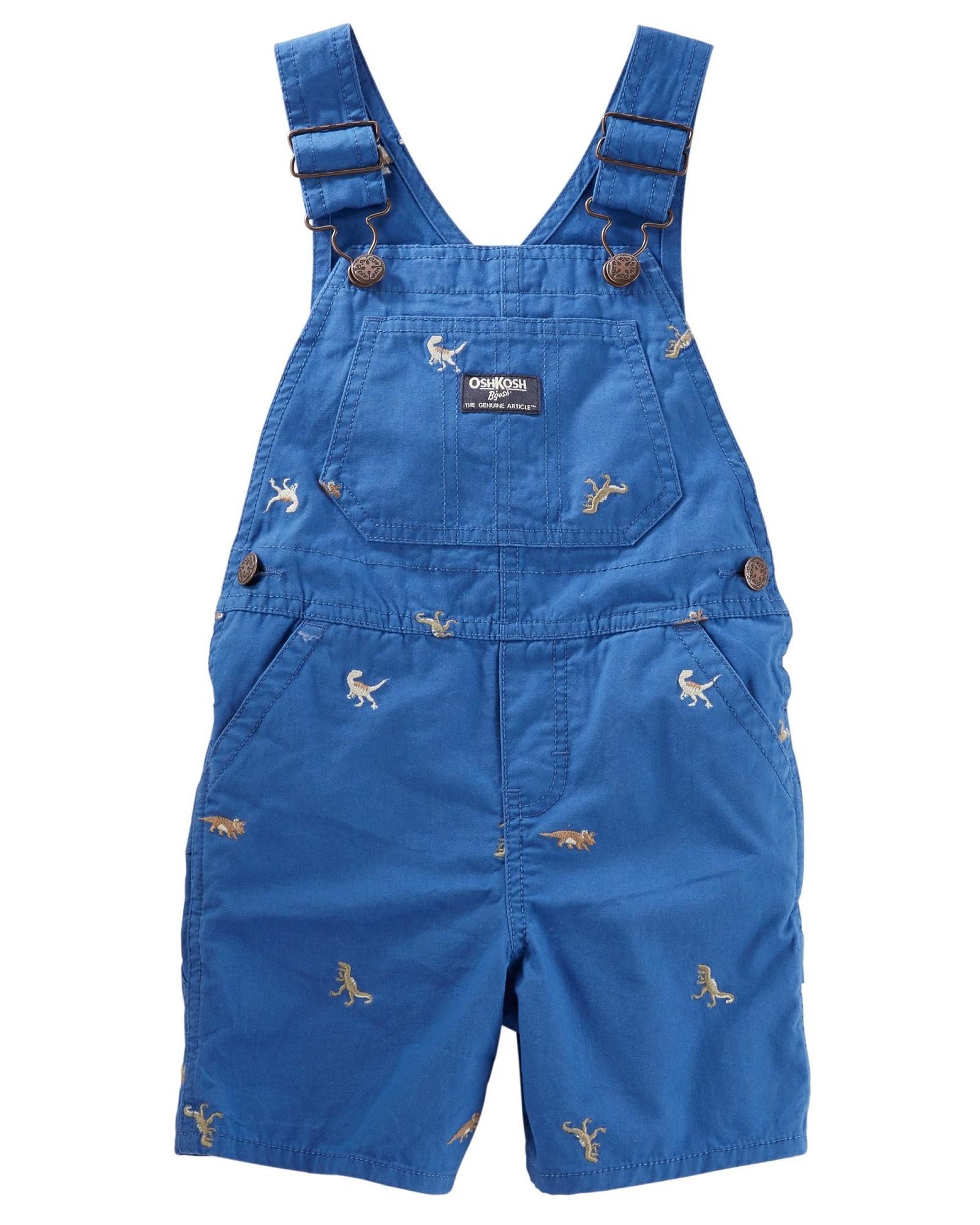 f464352968e25f OKBY039 New Baby Toddler Boys Oshkosh B'Gosh Khaki Overalls Dinosaur  Schiffli