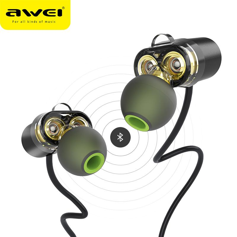 AWEI Newest X650BL Bluetooth Headset Dual Driver Wireless Headphones Bluetooth Earphones with Mic Super Bass Earbuds