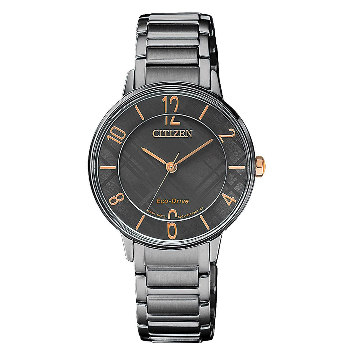 Sale Citizen Watch Eco Drive Black Stainless Steel Case Stainless Steel Bracelet Ladies Em0528 82H Citizen Cheap