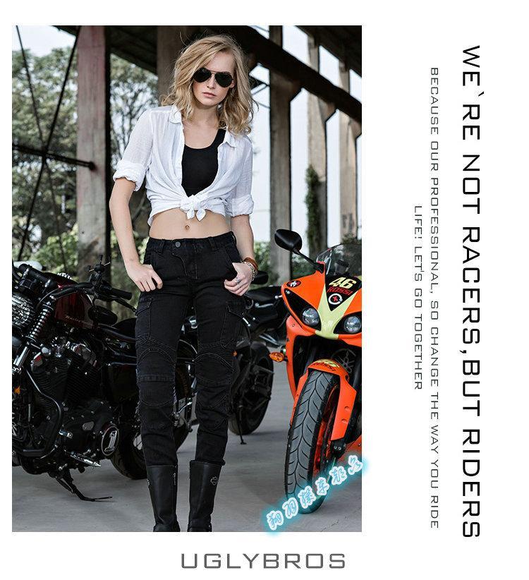 UglyBROS Motorpool UBS06 Hitam Retro Perempuan Kacamata Tentara Jeans Celana Motor (Hitam/Ukuran: L, M, S)