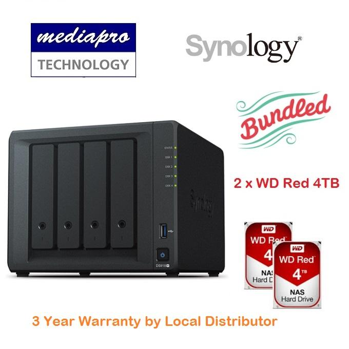 Synology DiskStation DS918+ 4-Bay NAS + 2 x WD RED 4TB HDD - 3 Year  Warranty by Local Distributor Singapore