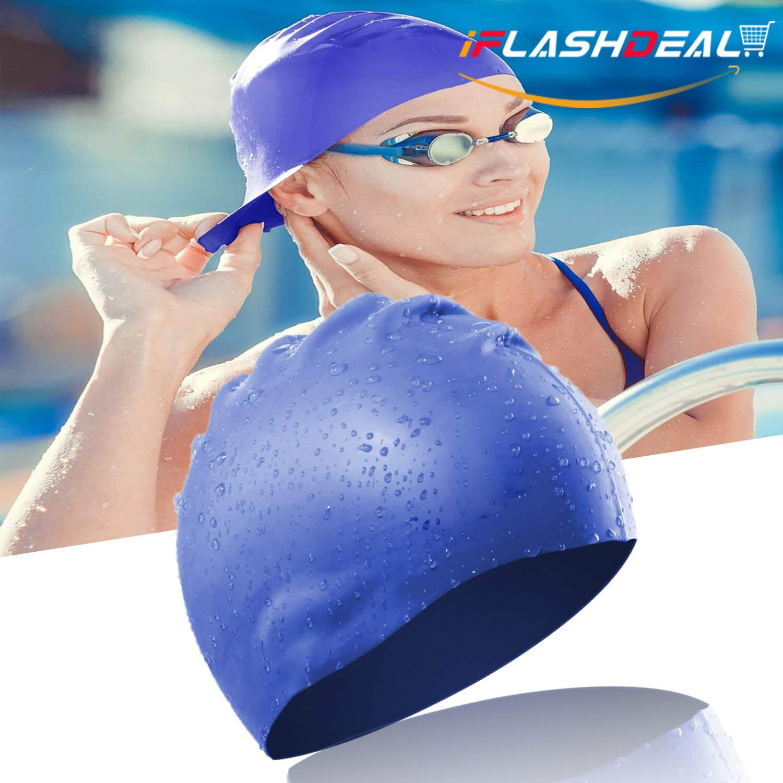 iFlashDeal Topi Renang Swimming Cap Silicone Rambut Panjang Renang Topi  Tahan Air Silikon Hat Untuk Wanita 2ef8b09a50