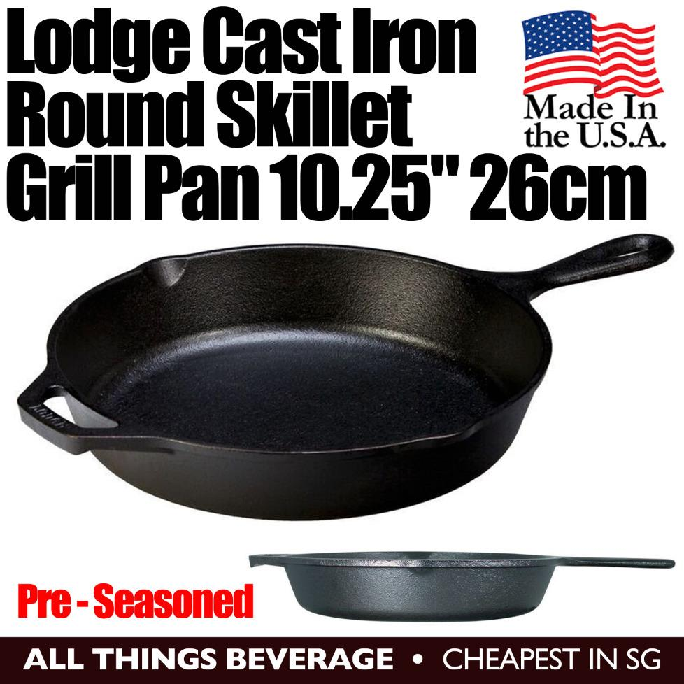 Lodge Cast Iron Round Skillet Grill Pan Pre Seasoned 10 25 Inch 26Cm Made In Usa Best Price