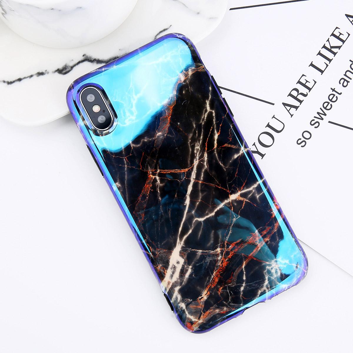 USLION Blu-ray Gradien Marmer Telepon Kasus Untuk iPhone 6 6 s Ditambah Mengkilap Batu Lembut TPU Penutup Belakang Kasus Untuk iPhone X 8 7 Ditambah Ruang Abu-abu