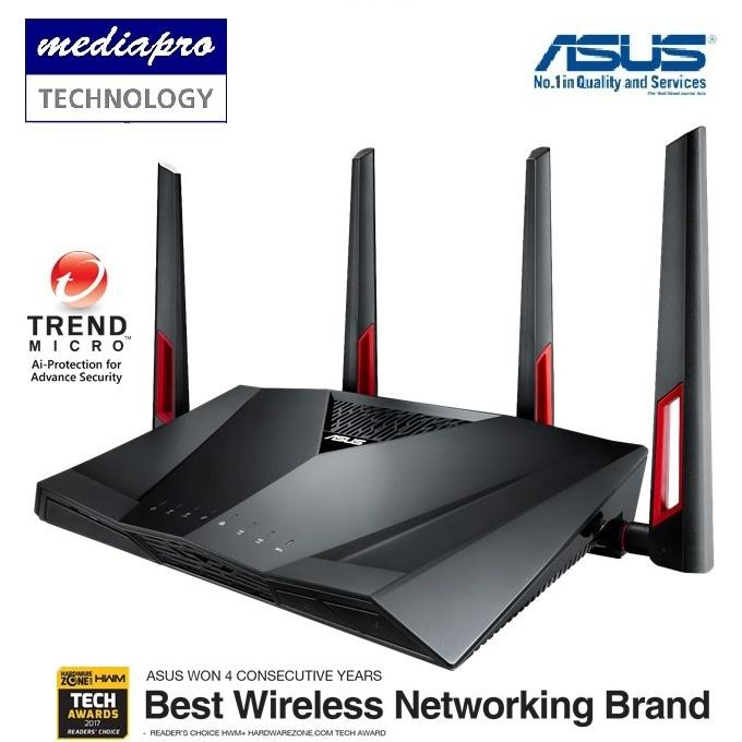 Retail Asus Rt Ac88U Ac3100 Mu Mimo Dual Band Wi Fi Gigabit Router With 8 Gigabit Lan Ports