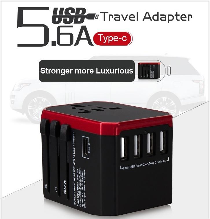 Ultimate Universal Travel Adapter with 4 USB Port + 1 Type-C Port Wall Charger Plug (Black)