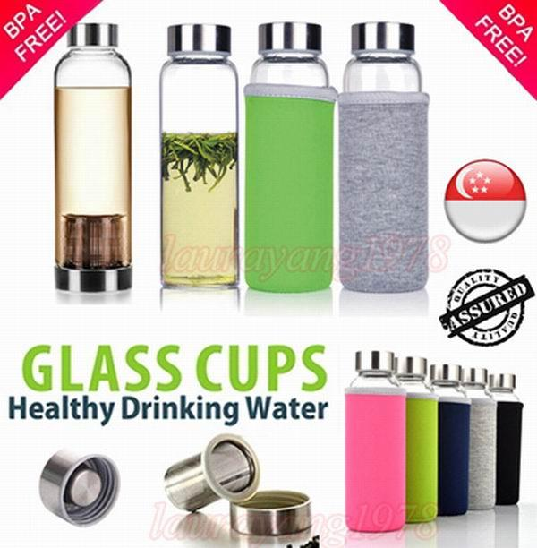 Buy Bpa Free Glass Water Bottle With Tea Filter Infuser Protective Sleeve Bag 500Ml Online Singapore