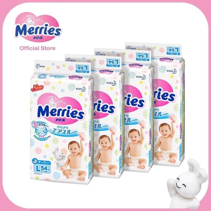 Latest Merries Tape Diapers L54S X 4 Packs 9 14 Kg