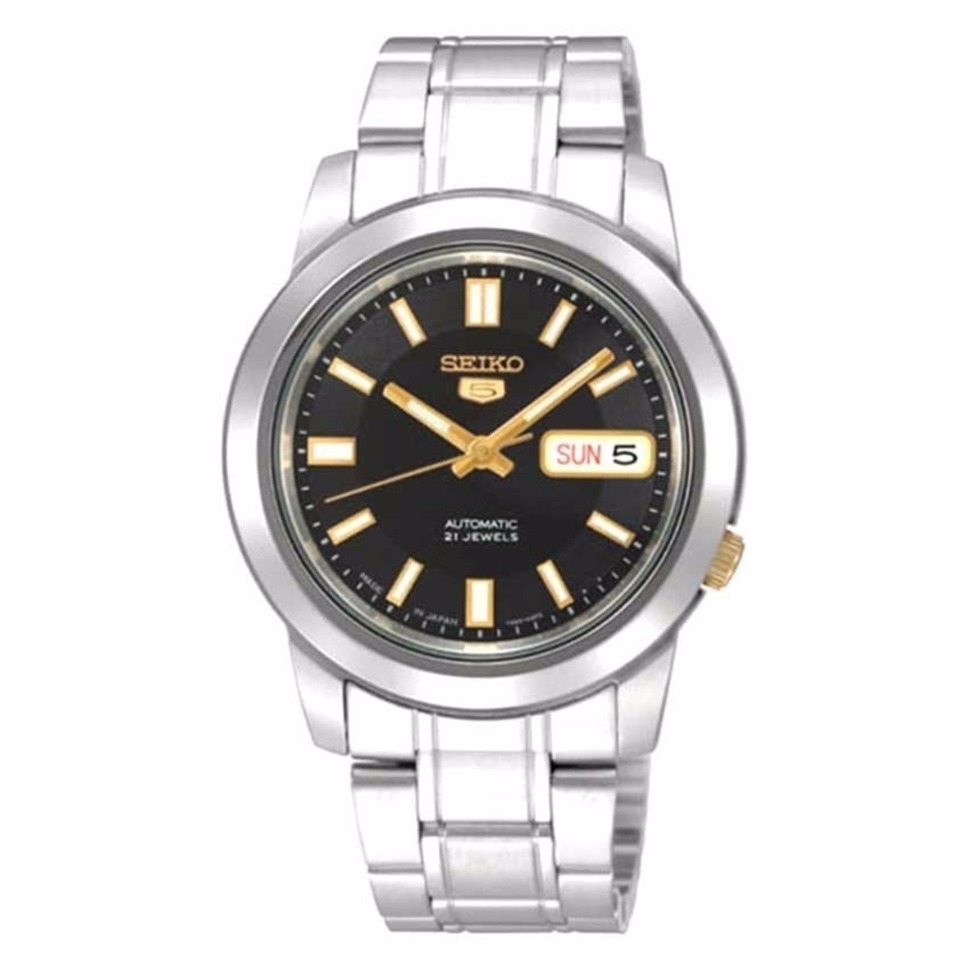 Sale Seiko 5 Snkk17K1 Snkk17K Snkk17 Automatic Stainless Steel Black Dial Analog Men Watches Seiko Branded