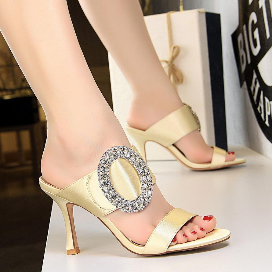Summer sexy elegant Satin Rhinestone stiletto pointed toe shoes high Heeled  Sandals for women - intl 471379bf3e1d