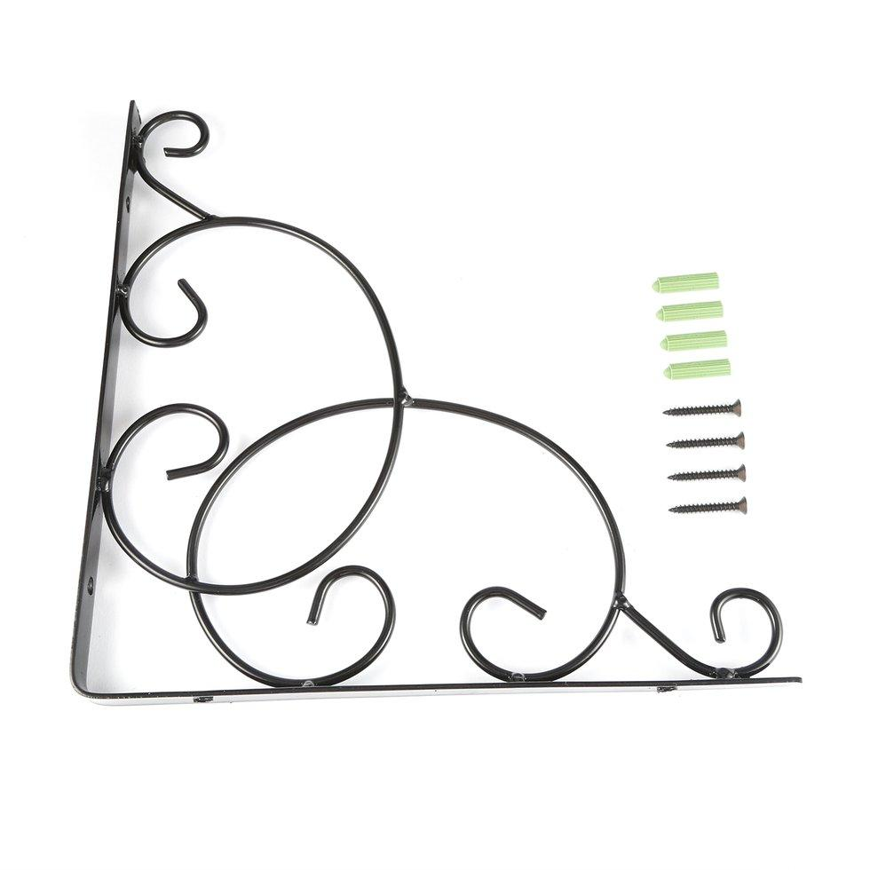 GOFT Vintage Style Iron Wall Mounted Floral Shelf Bracket with Screws for Bookrack Black