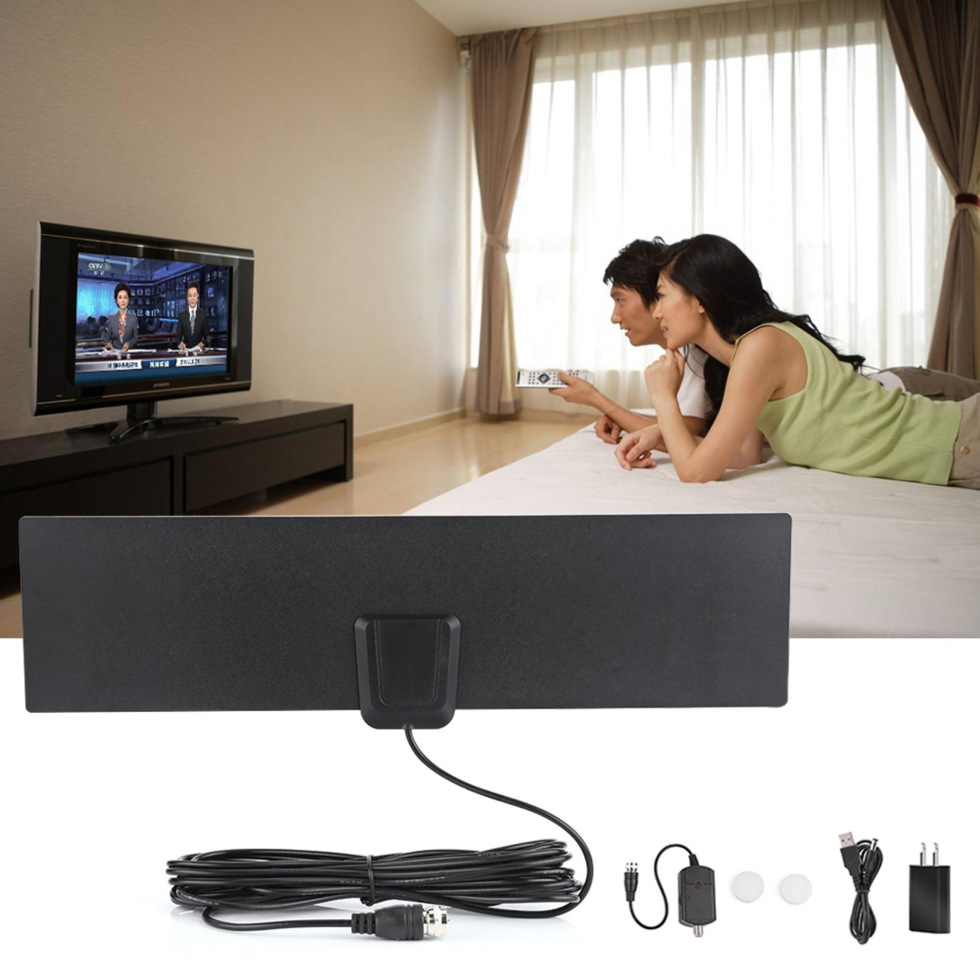 Latest Ultra Thin 50 Miles High Gain Indoor Amplifier Digital Flat Tv Hdtv Antenna Eu Plug Intl