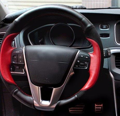 Kulit Mobil Roda Kemudi Penutup untuk Volvo XC60 V40 V60 S60 Menjahit Mantra Warna Suede Kulit Mobil Interior Aksesoris (XC60 v40 V60 S60-) -Intl