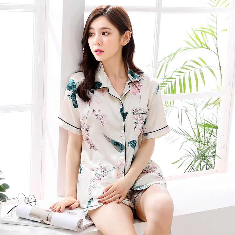 4b13c31434c Pajamas women Summer Ice Silk Home Service Short Sleeve Cardigan Two-Piece  Set Summer Korean