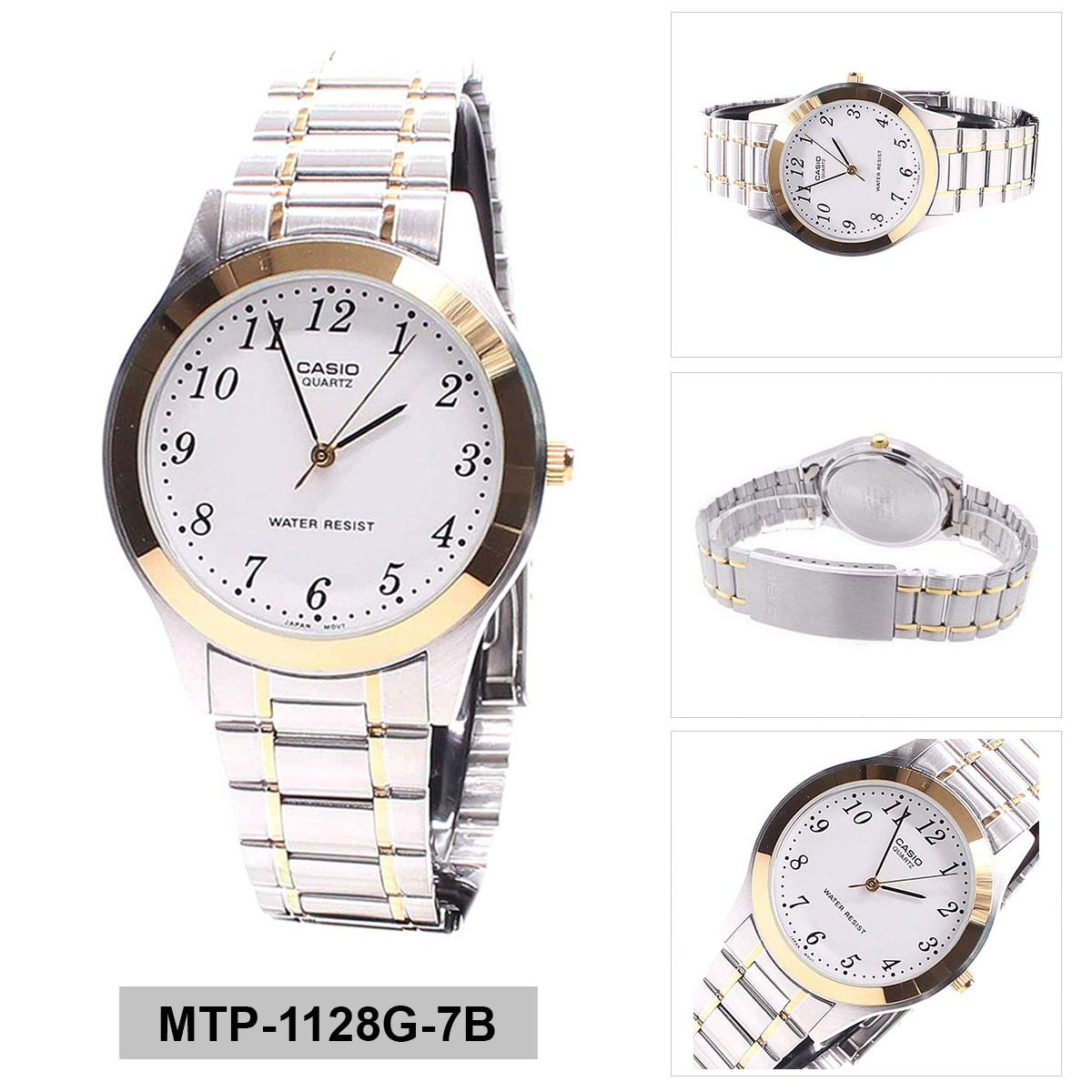 Low Price Casio Watch Standard Multicolored Stainless Steel Case Two Tone Stainless Steel Bracelet Mens Mtp 1128G 7B
