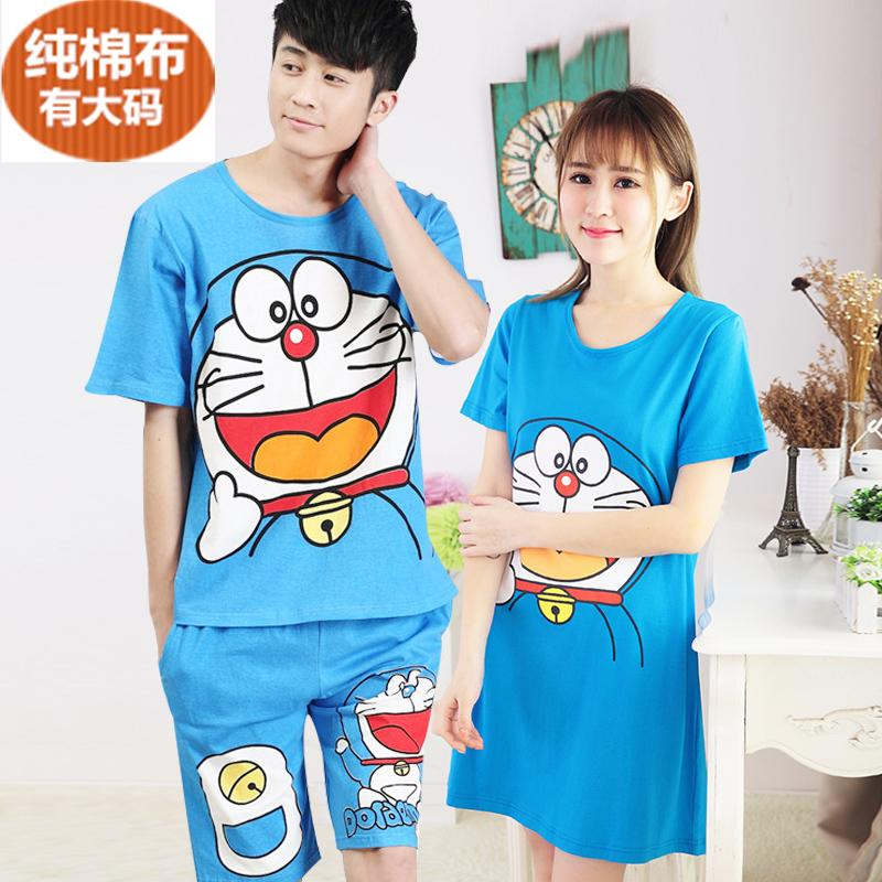 Lovers pajama summer Han Ban lovely cartoon pure cotton Duo A dream the big code Doraemon