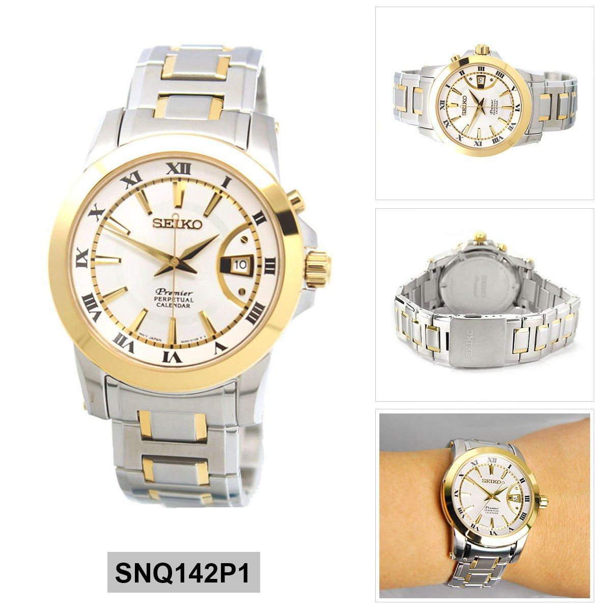Best Deal Seiko Watch Premier Perpetual Calender Multicolored Stainless Steel Case Two Tone Stainless Steel Bracelet Mens Snq142P1