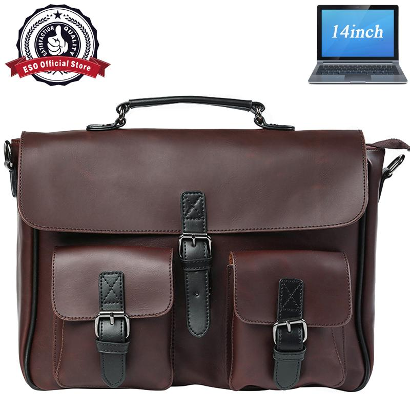 f729a524d633 Eso Mens Fashion business casual large capacity leather business office handbag  shoulder bag - intl