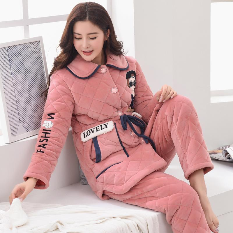 Winter Coral Velvet Pajamas women Autumn And Winter Padded Thick Cotton  Coat Ultra-Thick plus d9c5eeaf3