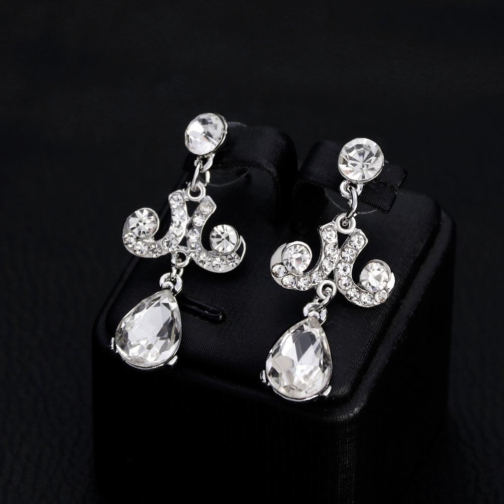 Starmall Wanita Set Perhiasan Wanita Tajam Liontin Berlian Buatan Kalung + Anting-Anting untuk Pernikahan Hari Kasih Sayang Hadiah