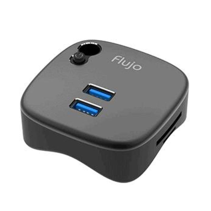 Flujo Aluminum USB 3.0 Hub Adapter Docking Station For Surface Pro 4/3 ,Mini Multi-function with 2 USB 3.0 Ports, 1 Gigabit Ethernet Port and SD/TF Card Slot for Microsoft Surface, Macbook, Ultrabook and Laptop(Black/White)