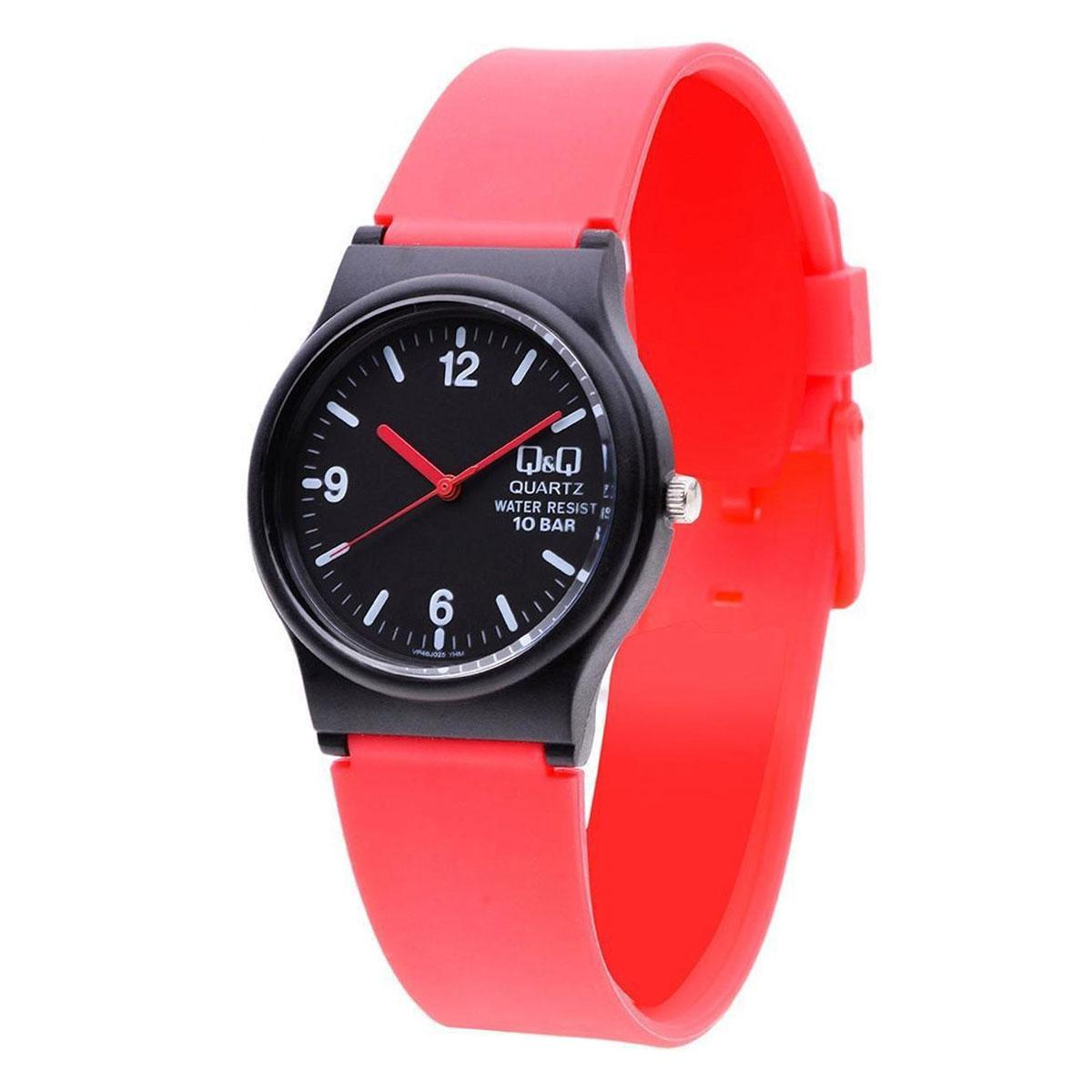 Top Rated Q Q Watch Red Plastic Case Silicone Strap Unisex Vp46J025Y