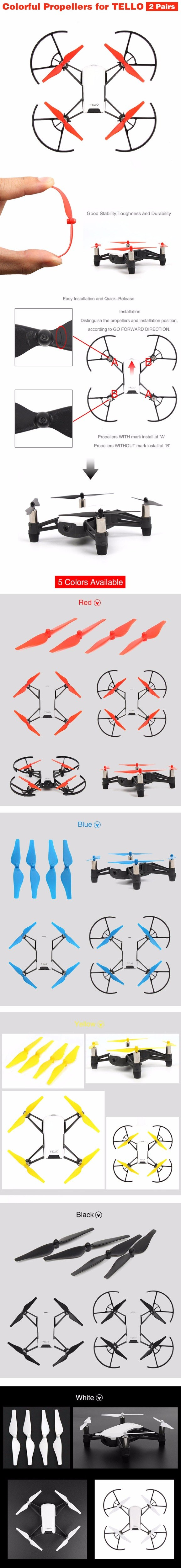 4pcs Quick Release/Lock Propellers CCW CW Props Blades For DJI Tello Mini  Drone (white/black/red/yellow/blue) Singapore