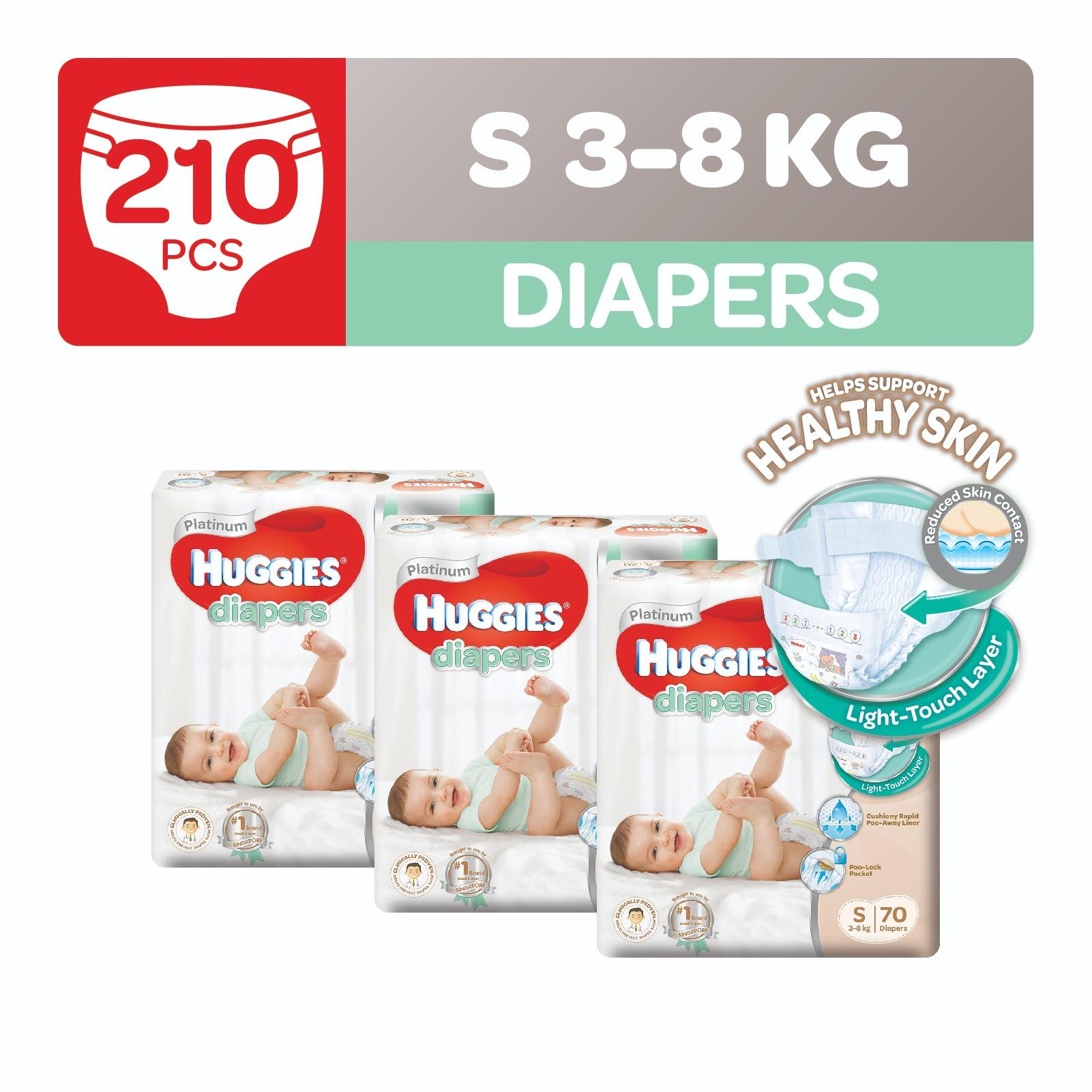 Huggies Platinum Diapers S 70Pcs X 3 Packs Sale