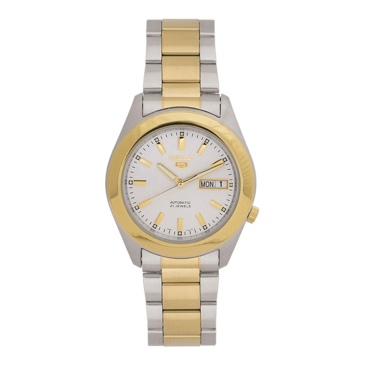Sale Seiko Watch 5 Automatic Multicolored Stainless Steel Case Two Tone Stainless Steel Bracelet Mens Snkm70K1 Seiko