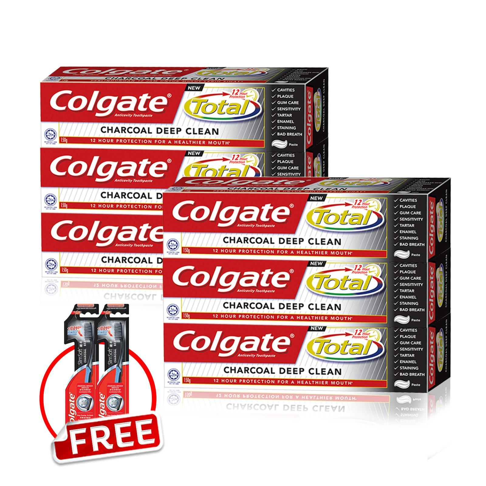 Purchase Buy 6 Colgate Total Charcoal Tooth Paste Save 40 Free 2X Slimsoft Charcoal Toothbrush Online