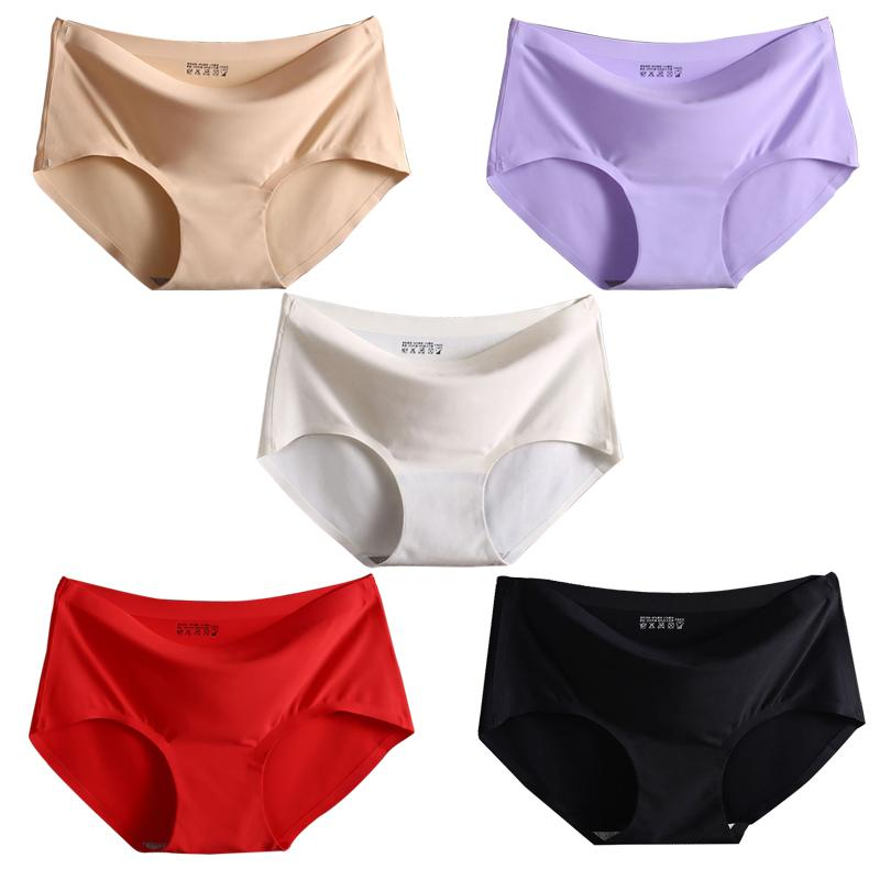 cd3be19ad2 5 pcs lot Women s Seamless Panties Ice Silky Underwear Solid Color Middle  Waist Fashion Briefs