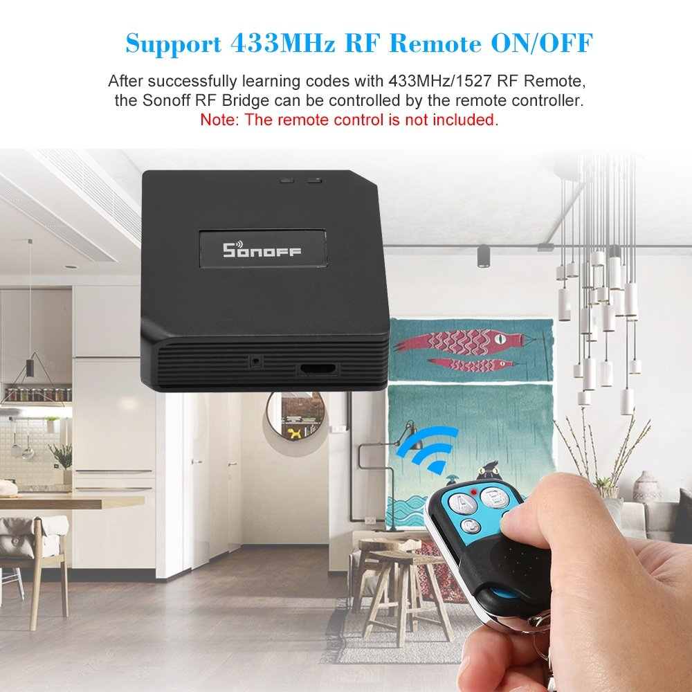 SONOFF RF Bridge ITEAD 433MHz Smart Home Automation Module Wifi Wireless  Switch Universal Timer DIY Convert 433MHz RF Remote Controllers to App via