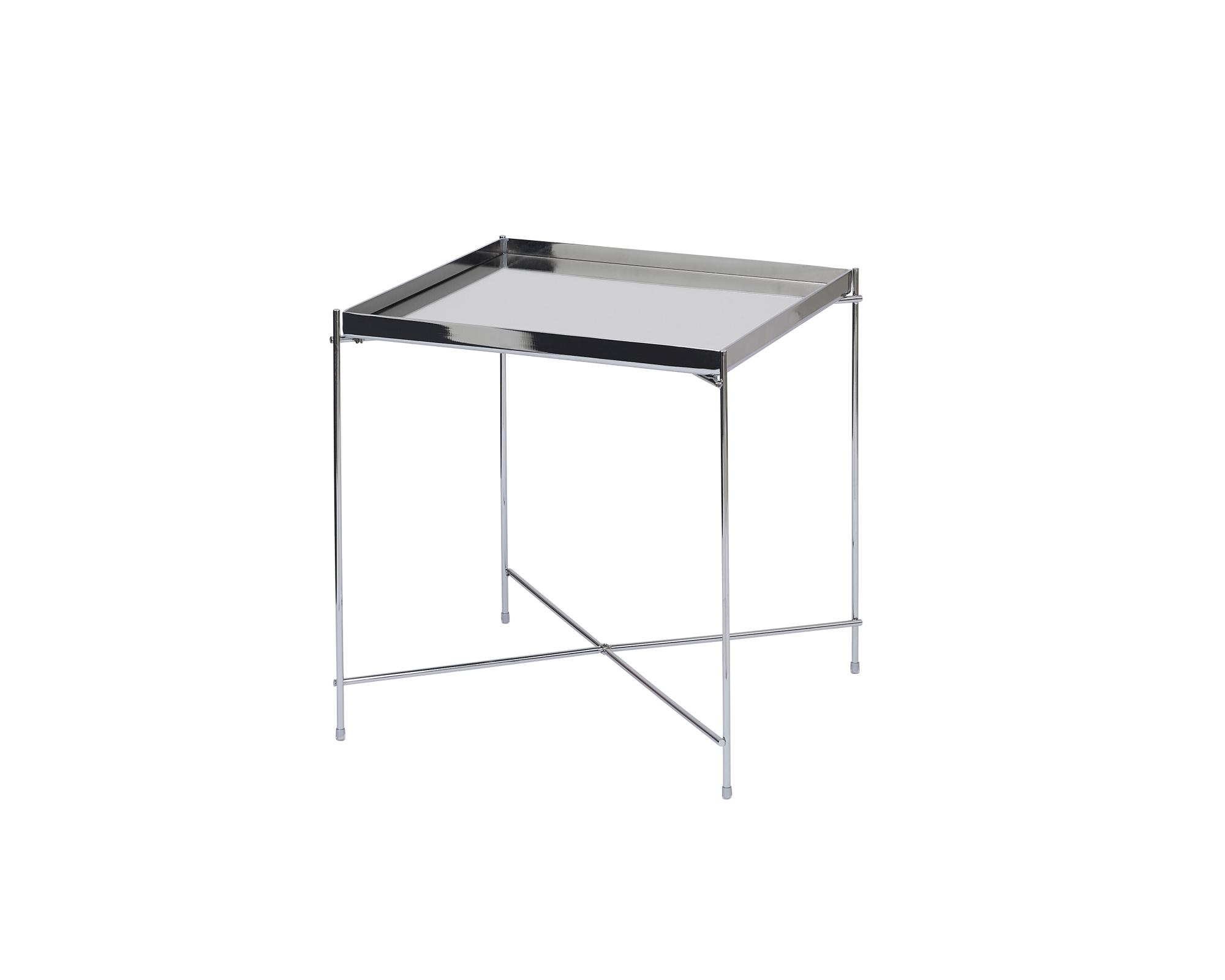 Oakland Chrome Metal Mirror Side Table - Square