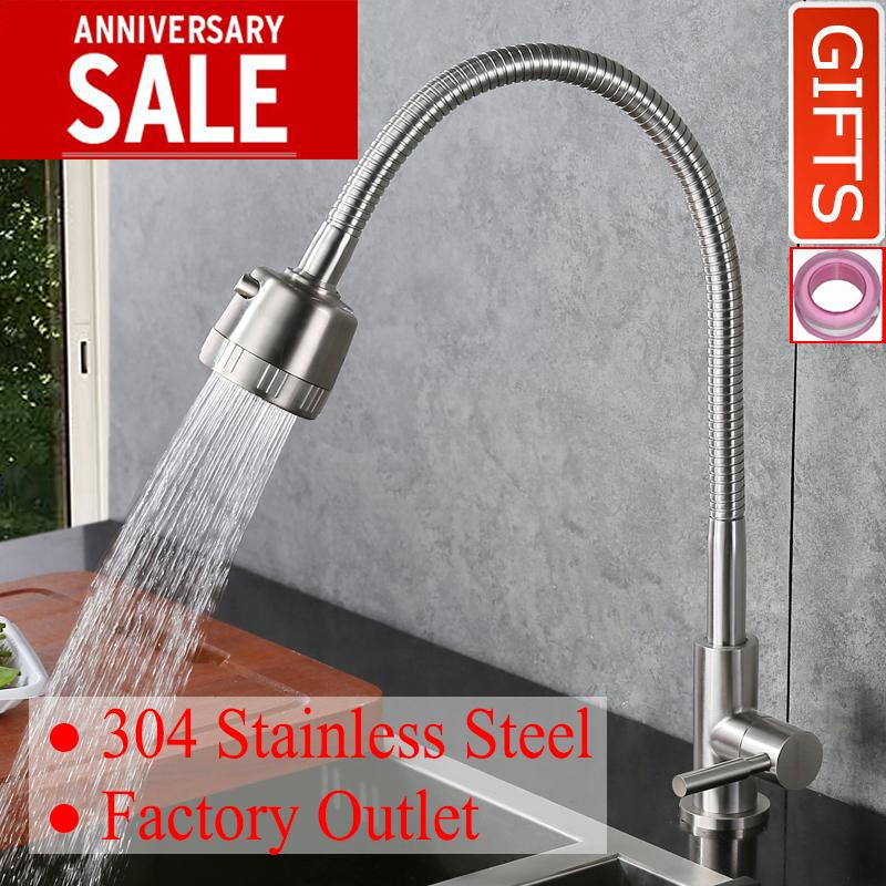 Discount Doboht Stainless Steel Flexible Bathroom Sink Basin 360 Swivel Spout Single Lever Cold Tap Kitchen Faucet Nickle Intl