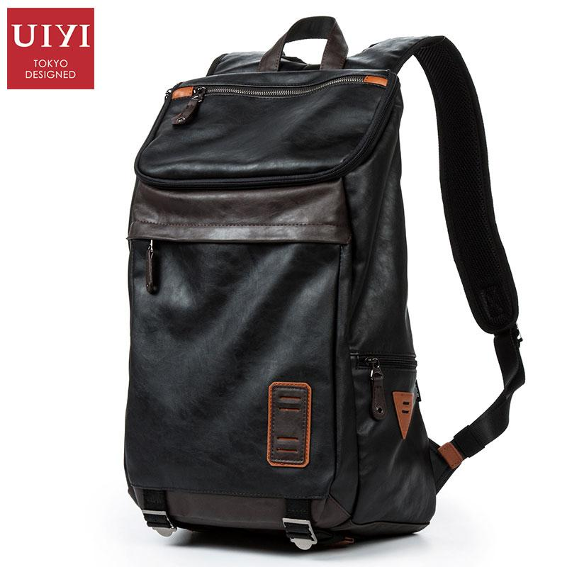 e4e72be1dc UIYI Brand 2018 New Men s Leather Backpack Black PU Fashion Teenager  Leisure Travel Bags Boys Bags