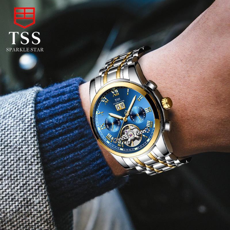 ... TSS Jam Tangan Pria Jam tangan mekanik Sepenuhnya Otomatis Tahan Air  Dua Sisi berongga Baja Anti ... d7b542818a