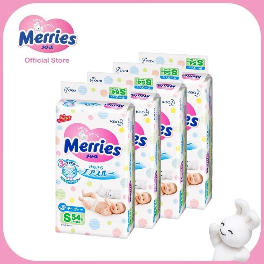 Retail Merries Tape Diapers S54S X 4 Packs 4 8 Kg