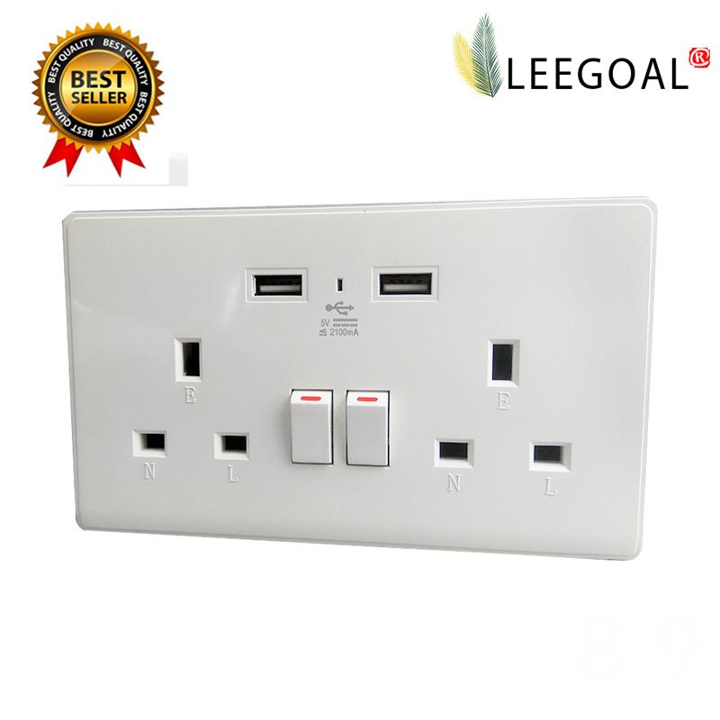 Leegoal Uk Plug 2 Usb Ports Wall Outlet With Switch Socket Intl Cheap