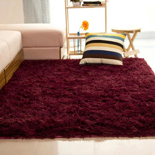 Sanwood® Living Room Bedroom Home Anti-Skid Soft Shaggy Fluffy Area Rug Carpet Floor Mat (Claret-red) - intl